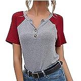 2021 Nuevo Camiseta de Mujer, Verano Moda Manga Corta Basic Color sólido Patchwork Blusa Cómodo Camisa Cuello en V Camiseta Casual Tops Suelto Fiesta T-Shirt Original tee Ropa de Mujer