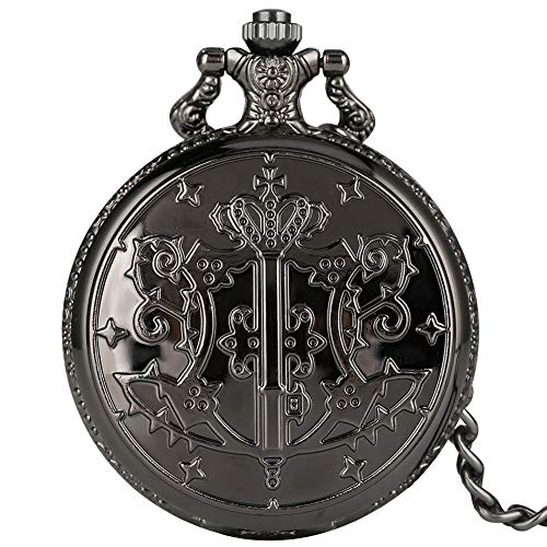Classic Black Butler Pattern Pocket Watch for Men Vintage White Dial Quartz Pocket Watches for Dad Practical Alloy Rough Chain Pendant Watch for Male