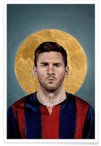 "JUNIQE® Fußball Lionel Messi Poster 20x30cm - Design ""Football Icon - Lionel Messi"" entworfen von David Diehl"