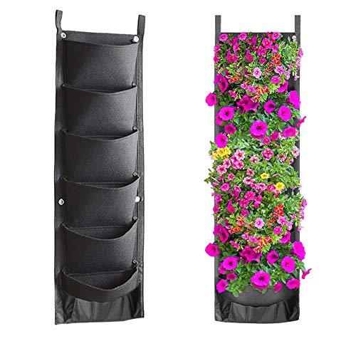Yuccer Jardinera Vertical 6 Bolsillo Jardín Vertical para Plantas Macetero de Pared para Decoración de Interiores o al Exterior