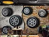 Papier Peint Mural 3D Personnalisé N'Importe Quelle Taille Stéréo Rétro Vintage Voiture Pneu Brique Mur Tv Fond Mur