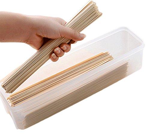 Chakil 2 x Rechteckige Lebensmittelbox Spaghetti Pasta Lasagne Box Abdeckung Lebensmittelbehälter transparent Vorratsdose
