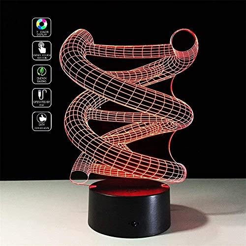 Illusión óptica de la ilusión visual de la espiral del DNA 3D Lámpara de la mesa del escritorio del interruptor táctil del LED para la luz de la noche de la broma de la Navidad Regalos de la broma de