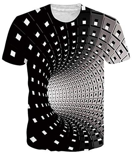 Fanient Herren T-Shirt 3D gedrucktes Muster schnell trocknend Casual Sommer T-Shirts Neuheit Kurzarm T-Shirt Gr. M, Schwarzes geometrisches 3D-Patchwork