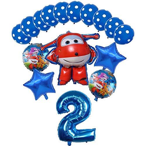 XIAOYAN Globos 16pcs Super Wings Balloon Jett Globloons Super Wings Toys Fiesta de cumpleaños 32 Pulgadas Número Decoraciones Niños Juguete Globos Suministros ( Color : Blue2 )