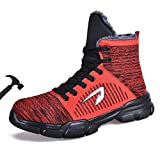 Women's Winter Steel Toe Boots Fur Lining High Cut Indestructible Shoe Industrial Construction Safety Work Boot Red Size 14.5 Women / 13 Men