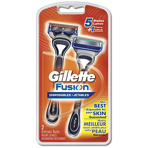 Gillette Fusion Disposable Razors, 2 Count, Mens Razors/Blades