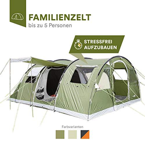 skandika Gotland 5 - Tienda de campaña Familiar - mosquiteras - Suelo Cosido en Forma de bañera - túnel (Verde)