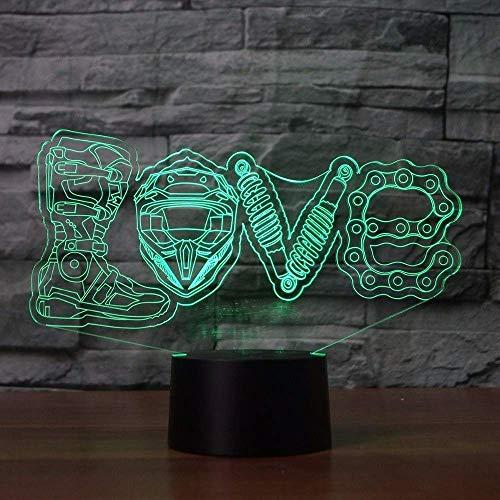 3D Illusion Nachtlicht 7 Farbe Led Vision Mechanische Liebe Modellierung Tisch Wohnkultur Motorrad Fans Kinderzimmer Dekoration Kidsleep Bunte kreative Geschenk Fernbedienung