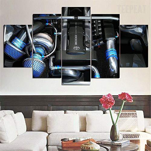 5 piezas de lienzo de arte de pared Motor Twin Turbo 2JZ 5 piezas de lienzo Foto Regalo Moderno Decoración Decorativo para Tu Salón o Dormitorio Mural Hd Con Marco