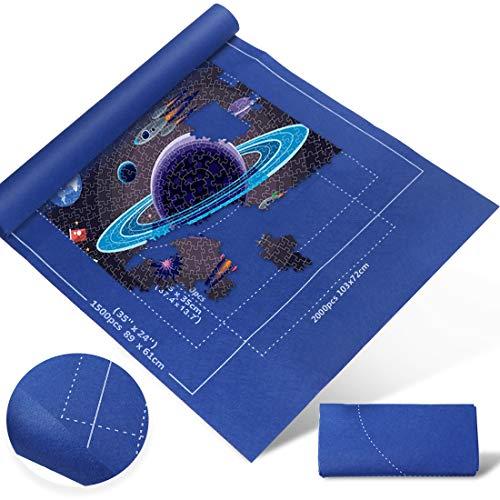 Zaloife Tapete Puzzle, Tapete para Enrollar Puzzles, Tapete para Puzzles 2000 Piezas, Puzzle Mat Azul,Estera de Rompecabezas Portátil, Puzzle Mat Roll