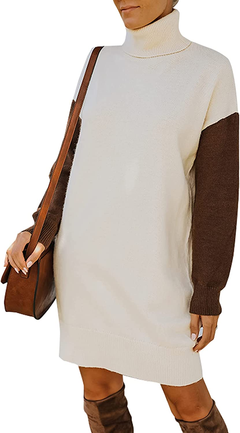 NALANISA Turtleneck Long Sleeve Midi Sweater Dress Casual Loose Oversized Ribbed Knit Color Block Pullover Sweater Tops
