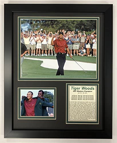 Legends Never Die PGA Tiger Woods 2001 Masters Champion Framed Double Matted Photos 12 x 15 product image