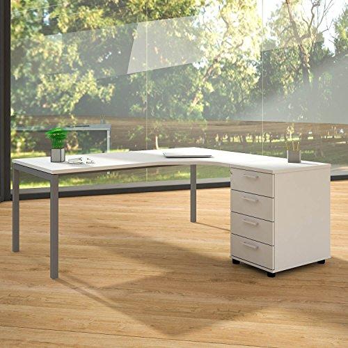Winkelschreibtisch mit Standcontainer NOVA XL 180x163cm Weiß Eck-Schreibtisch, Gestellfarbe:Silber