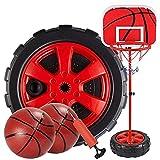 Canasta Baloncesto Infantil Portátiles Tableros De Baloncesto,Juegos De Aire Libre Y De Interior Para Niños Y Niñas Altura Ajustable 120-200cm Canastas De Baloncesto Exterior,Red-170cm(68.5-170cm)