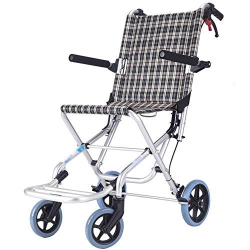 ZHONGXIN Silla de Ruedas de Aluminio, Silla de ruedas de tránsito, reposapiés abatíbles y cinturón de Seguridad ortopédica, reposapiés, reposabrazos, para minuválidos (A)