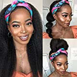 Kinky Straight Headband Wigs Yaki Human Hair Wig for Black Women None Lace Front Wigs with Headband for Black Women Easy to Wear150 Density (28, nature of black)