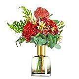 Kiki Flor Artificial Estilo nórdico Flor Artificial Set con el florero falsificación Flor Decoración de la Sala de Estar Dormitorio decoración de Escritorio Flor Falsa (Color : Flower+Vase)