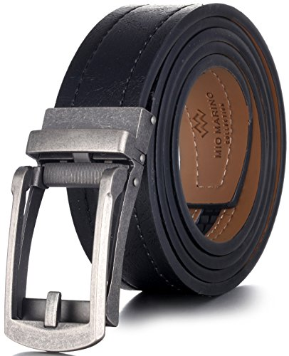 """Marino Avenue Genuine Leather belt for Men, 1.5 Wide, Casual Ratchet Belt with Automatic Linxx Buckle - Cracked Metal - Deep Charcoal - Adjustable from 28"""" to 44"""" Waist"""
