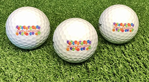 LL-Golf ® 3er Set Geburtstags Golfbälle mit Happy Birthday Motiv in Geschenkbox/Golf Geburtstagsgeschenk/Golfgeschenk
