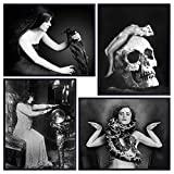 Goth Gothic Home Decor Creepy Vintage Photo Set - Skull, Nude, Naked Woman, Raven, Snake, Fortune Teller Wall Art for Living Room, Bedroom, Bathroom, Living Room - Rustic Gift - Retro Poster Print