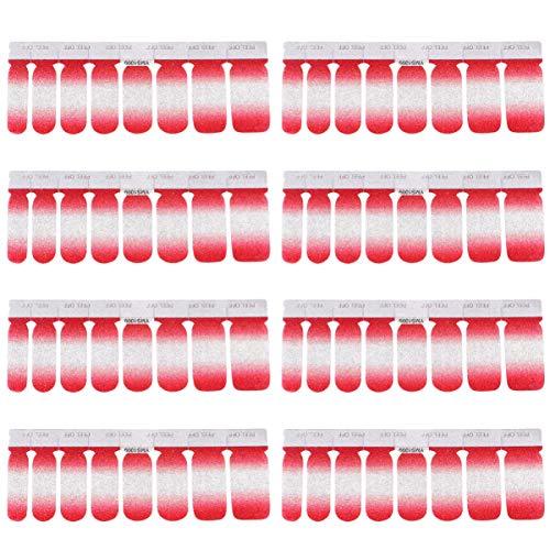 Adesivos Gradual para Esmalte de Unha da Pretyzoom, 48 peças, adesivos de manicure, adesivos de arte de unhas brilhantes para decoração de unhas (vermelho)