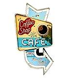 DiiliHiiri Cartel Retro Luminoso Cerveza Bar Restaurante Cafeteria Estilo Vintage Letrero Metálico de Artesanía Accesorios de Decoración Hogar de los Años 50 (Coffee Shop Cafe)