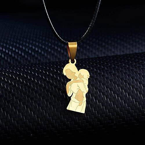 DGSDFGAH Collar De Mujer Estilo De Abrazo Personalidad De Acero Inoxidable Estilo De Pareja Madre Hija Collar Colgante Femenino Hija Niño Cadena De Oro Regalo Familiar