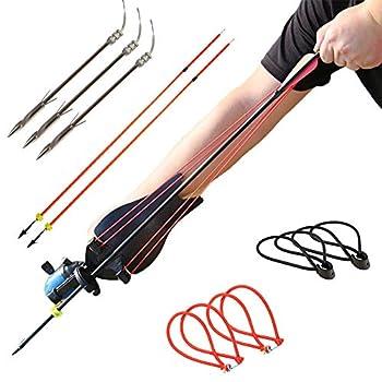 HANDBAIGE Powerful Fishing Slingshot Kit Pro Fishing Reel Catapult Bowfishing Archery Arrows Slingbow Hunting Sling Shot with Arrow Brush Fishing Reel & Rubber Bands
