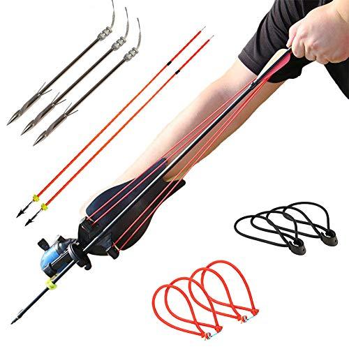 HANDBAIGE Powerful Fishing Slingshot Kit Pro Fishing Reel Catapult Bowfishing Archery Arrows Slingbow Hunting Sling Shot with Arrow Brush, Fishing Reel, Rubber Bands