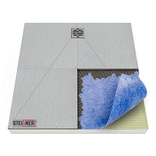 STEIGNER Duschelement inkl. DICHTFOLIE Duschboard befliesbar Dezentral Pos. 2, 100x100cm, EPS Bodenelement, Ablauf WAAGERECHT