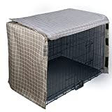 zhgzhzwlf Dog Crate Cover Soundproof Ventilated Pet Keneel Cover Durable Double Door Polyester Dog Crate Cloth Cover Air Flow/Universal Fit for Wire Dog Crate,Plaid,42inches