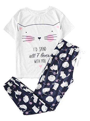 DIDK Damen Katze Muster Aufdruck Shirt und Hose Zweiteiliger Pyjama Weiss S