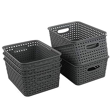 Teyyvn Plastic Storage Basket 10.03  x 7.59  x 4.09  Pack of 6 Gray