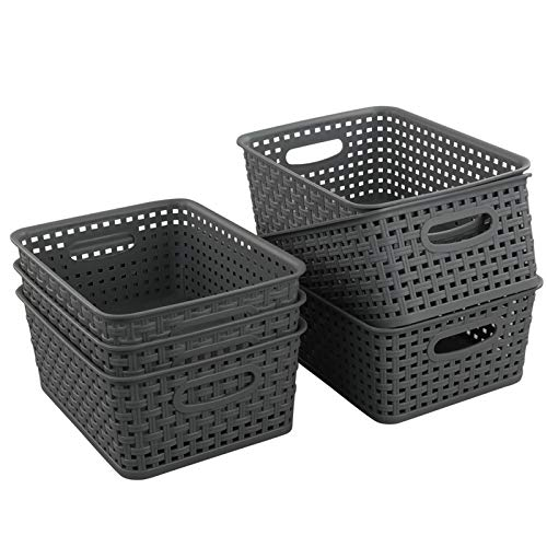 "Teyyvn Plastic Storage Basket, 10.03"" x 7.59"" x 4.09"", Pack of 6, Gray"