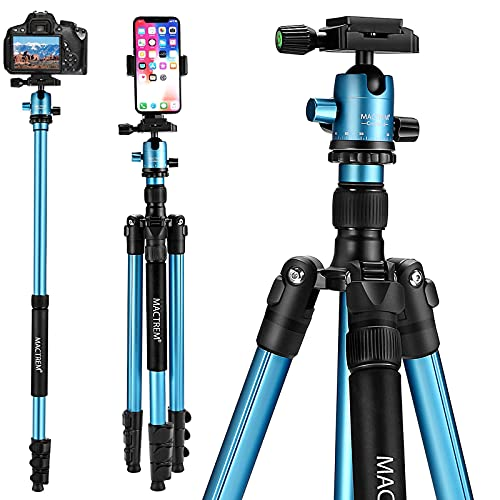 """MACTREM Professional Camera Tripod DSLR Tripod for Travel, Super Lightweight and Reliable Sturdy, Ball Head Tripod Detachable Monopod with Phone Mount Carry Bag, 21.5"""" to 62.5"""", 33lb Load"""