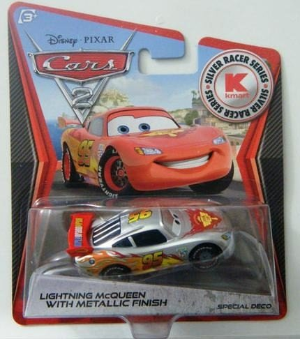 Disney Pixar Cars 2 - KMart Silver Racer Series - Lightning McQueen with Silver Metalic Finish. Limited Edition USA only Release