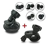 SHISHUO Dash Cam Mount - Suction Cup Mount + Mirror Mount, 5 Joint Clips Available, Suitable for Most Dash Cam and GPS