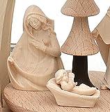 Dekohelden24 Tisch-Pyramide aus Buchenholz Christi Geburt mit Handgeschnitzten Tiroler Figuren für 4 Teelichter L/B/H ca. 18 x 14 x 24 cm - 4