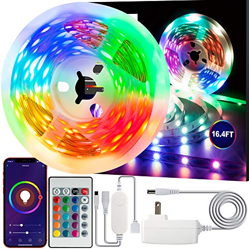 Swtroom LED Stripe Lights Works with Alexa Google Home WiFi RGB LED Light Strips 16 Million Colors Music Sync 5050 LED Light with Remote App Control for Bedroom/Bar/Party/Home Decoration,16.4ft