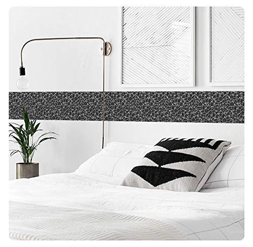 setecientosgramos Cenefa Decorativa Auto-Adhesiva | Decoración de Pared | Hogar-Cocina-Baño-Dormitorio | 5 m x 15 cm | Black