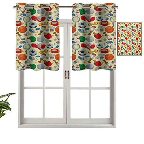 Hiiiman Fashion Design Valance Insulated Thermal Window Panel Cartoon Drawing Style Sporting Goods Balls Bowling Tennis Ping Pong Boxing Football, Set of 2, 42'x36' for Kids Room