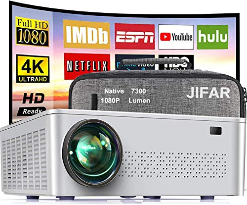Native 1080P Projector, 2021 Upgrade 7500 Lux Movie Projector 4K Video Support,100000 Hours Life Indoor and Outdoor Projector Compatible with TV Stick,HDMI,VGA USB PC [Bag Included]