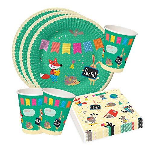 Grätz Verlag Partyset für Kindergeburtstag oder Party, bunt, lustig, Tiere, Pappteller und Pappbecher, Servietten, Kindergeburtstag Tischdeko Set 36 TLG.
