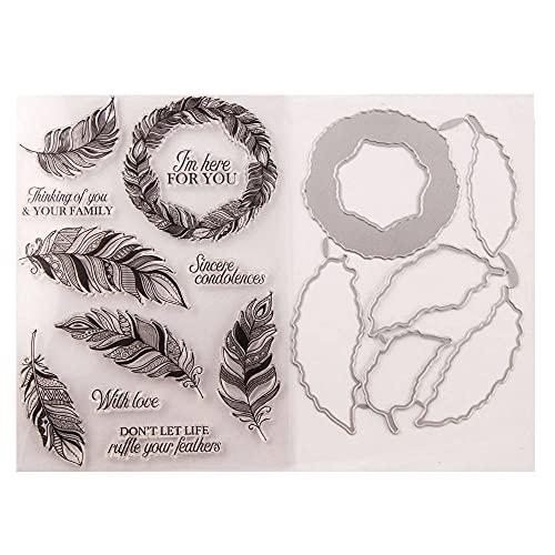 Wacemak1r Sellos de silicona transparente sello etiqueta de corte troquelado pluma relieve plantilla plantilla molde scrapbooking DIY herramientas de arte