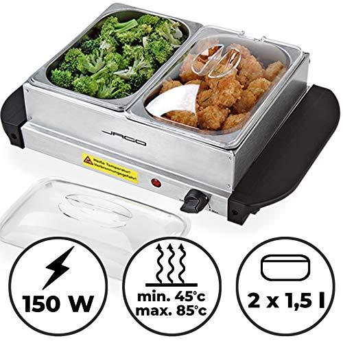 Jago Scaldavivande Elettrico per Buffet - Temperatura Regolabile 45-85°C, Acciaio Inossidabile, Coperchio Trasparente, Modello a Scelta - Chafing Dish, Buffet Server, Food Warmer (Set di 1, 2x1.5L)