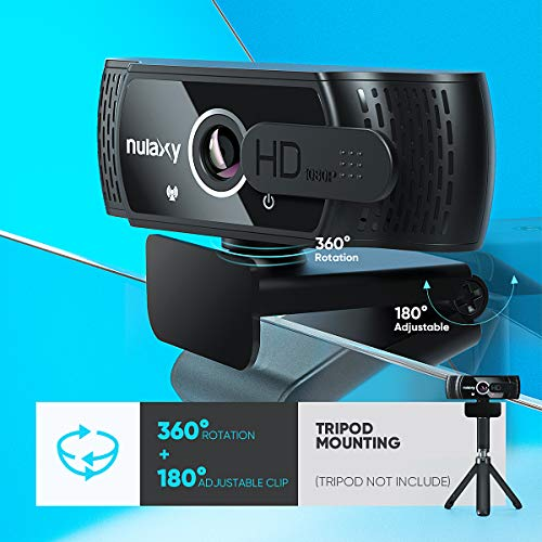 Nulaxy C900 Webcam PC Full HD 1080P con Micrófono, Webcam Portátil para PC, Webcam USB 2.0, Streaming Cámara Reducción de Ruido para Videollamadas, Grabación, Conferencias con Clip Giratorio miniatura