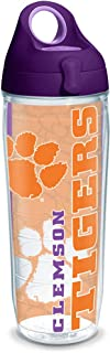 Tervis Clemson Tigers College Pride Tumbler with Wrap and Purple Lid 24oz Water Bottle, Clear