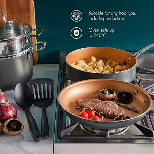 VonShef 11 Piece Copper Pan Set - Non Stick Aluminium Cookware Set with Pans & Utensils– Kitchen Bundle Suitable for All Hob Types