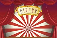 新しいサーカスパーティーの背景7x5ftヴィンテージの赤いカーテンステージ舞台芸術ホールの写真撮影の背景子供大人芸術的なポートレート写真撮影の小道具ビニール壁紙